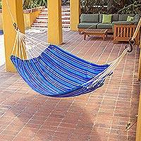 Handwoven hammock, 'Blue Dreams' (single) - Hand Woven Guatemalan Fabric Blue Single Hammock