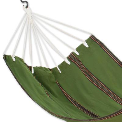 Handwoven hammock, 'Verdant Tropical Slumber' (single) - Hand Woven Guatemalan Dark Green Fabric Hammock (Single)