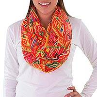 Chiffon infinity scarf, 'Poqomam Traditions' - Red and Yellow Guatemalan Chiffon Hand Woven Infinity Scarf