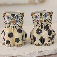 Terracotta mugs, 'Gatitos Lecheros' (pair) - Hand Crafted 11 oz Terracotta Cat Mugs from Guatemala (Pair)