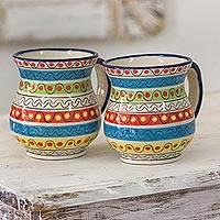 Ceramic mugs, 'Fiesta in San Antonio' (pair) - Festive Multicolor Mugs in High Fired Ceramic (Pair)