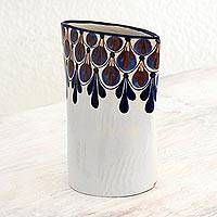 Ceramic vase, 'Rainforest Showers' - Guatemalan Terracotta Vase Original Design Crafted by Hand