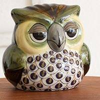 Terracotta statuette, 'Buho Sabio' - Hand Crafted Terracotta Wise Owl Statuette from Guatemala