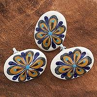 Ceramic cabinet knobs, 'Oval Blue Sunflower' (set of 6) - Set of 6 Handcrafted Floral Ceramic Cabinet Knobs Guatemala