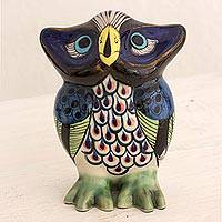 Ceramic sculpture, 'Good Luck Owl' - Ceramic Sculpture of an Owl Hand Painted from Guatemala