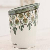 Ceramic vase, 'Rainforest Ferns' - Green and Ivory Handcrafted Vase in High Fired Ceramic