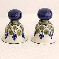 Ceramic sculptures, 'Bells of Palopo' (pair) - Ceramic Sculptures Floral Bells (Pair) Guatemala