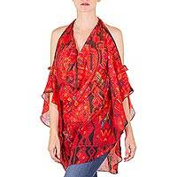 Chiffon tunic, 'Chalchiteco Red' - Chalchiteco Motif Polyester Chiffon Red Open Shoulder Tunic
