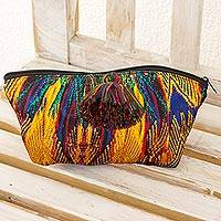 Cosmetics bag, 'San Juan' - Multi Colored Cosmetics Bag Artisan Crafted in Guatemala