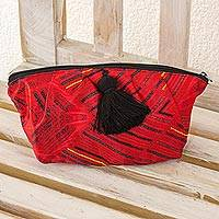 Cosmetics bag, 'Sumpango Red' - Huipil Inspired Red Chiffon Artisan Crafted Cosmetic Bag