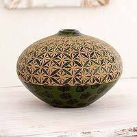 Ceramic decorative vase, 'Geometric Earth' - Artisan Crafted Ceramic Vase with Geometric Design
