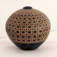 Ceramic decorative vase, 'San Juan River' - Blue and Black Terracotta Vase with Hand-Etched Motifs