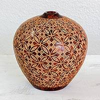 Ceramic decorative vase, 'Chontales Sunset' - Handcrafted Terracotta Decorative Vase in Red