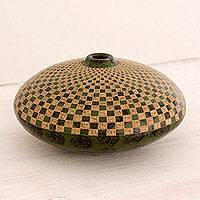 Ceramic decorative vase, 'Checkerboard Earth' - Artisan Crafted Ceramic Vase with Checkerboard Design
