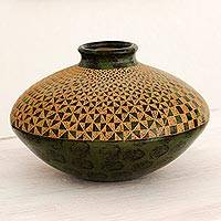 Ceramic decorative vase, 'Chinandega Fields' - Nicaraguan Handcrafted Green Terracotta Decorative Vase