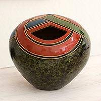 Ceramic decorative vase, 'Verdant Chichigalpa' - Modern Abstract Design Handcrafted Vase in Green Terracotta