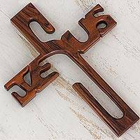 Wood wall sculpture, 'Christ's Life and Love' - Christian Granadillo Wood Cross Wall Sculpture