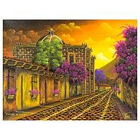 'School of Christ Church I' - Sunset Tone Signed Painting of a Church in Guatemala