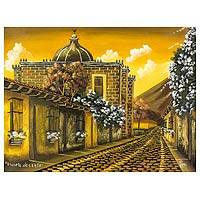 'Sunset at the School of Christ' - Limited Edition Signed Painting of a Church in Guatemala