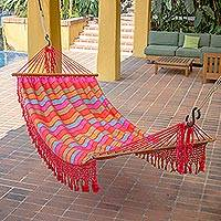 Cotton hammock, 'Candy Colors' (single) - One-Person Multicolor Handwoven Cotton Hammock and Bag