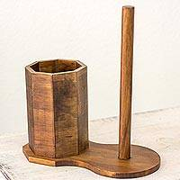 Wood kitchen organizer, 'Nature's Home' - Wood Paper Towel and Utensil Holder from Guatemala