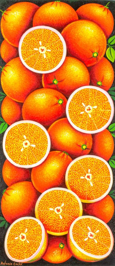 'Orange' - Realistic Signed Painting of Oranges from Guatemala