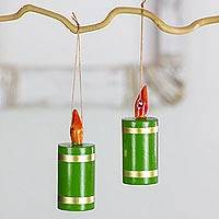 Reclaimed wood ornaments, 'Green Candles of Hope' (set of 4) - Artisan Crafted 4 Piece Set of Christmas Candle Ornaments