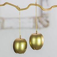 Reclaimed wood ornaments, 'Golden Apples' (set of 4) - 4 Gold Apple Ornaments Handcrafted with Reclaimed Wood Set