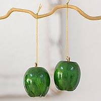Reclaimed wood ornaments, 'Green Apples' (set of 4) - Handcrafted Set of 4 Apple Ornaments on Reclaimed Wood