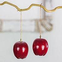 Reclaimed wood ornaments, 'Festive Red Apples' (set of 4) - 4 Apple Ornaments Hand Crafted from Recycled Cypress Wood