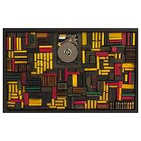 Mahogany and cedar wood wall art, 'The Other Dimension I' - Original Modernistic Wood Wall Art from Guatemala
