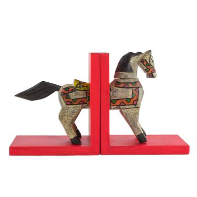 Handcrafted Pinewood Horse Bookends from Guatemala (Pair)