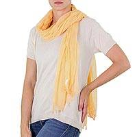 Cotton scarf, 'Tropical Mamey' - Dark Peach Colored Cotton Scarf from Guatemala