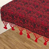 Cotton table runner, 'Tactic Crimson' - Guatemalan Handwoven Table Runner in Red and Black