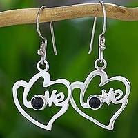 Jade dangle earrings, 'Hearts Full of Love' - Romantic Heart Shaped Jade and Silver Love Theme Earrings