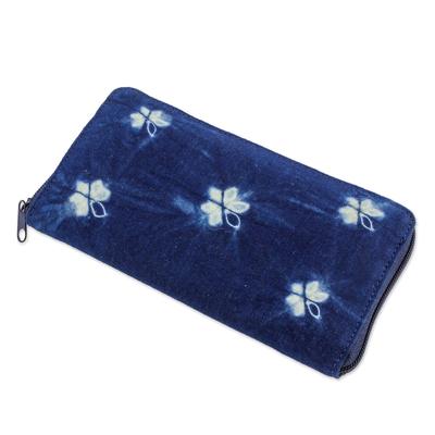 Batik Flower Butterflies on Natural Indigo Cotton Wallet