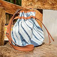 Cotton with leather accent shoulder bag, 'Indigo Clouds' - Fair Trade Womens Draw String Shoulder Bag with Natural Indi