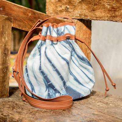 Cotton with leather accent shoulder bag, 'Indigo Clouds' - Artisan Crafted Cotton Shoulder Bag with Natural Indigo Dyes