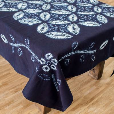 Cotton batik tablecloth, 'Flower of Life' - Flower of Life Indigo Cotton Batik Hand Crafted Tablecloth