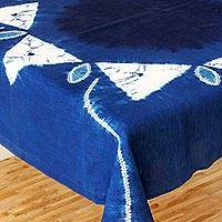 Cotton batik tablecloth, 'Sumpango Kites' - White Kites on Indigo Cotton Batik Hand Crafted Table Cloth