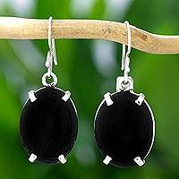 Jade dangle earrings, 'Oval Abstract' - Black Maya Jade Handcrafted Sterling Silver Earrings