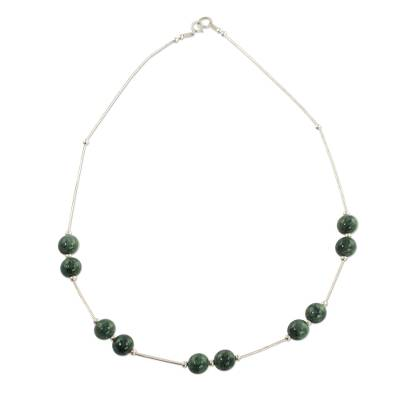 Sterling Silver Necklace with Light Green Maya Jade