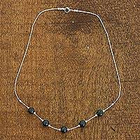 Jade station necklace, 'Cool Green Ponds' - Sterling Silver and Dark Green Maya Jade Artisan Necklace