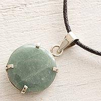 Jade pendant necklace, 'Circular Abstract' - Unisex Apple Green Jade Necklace with Black Cotton
