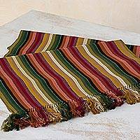 Cotton table runner, 'Fruits of the Forest' - Hand Woven Multicolored Cotton Table Runner from Guatemala