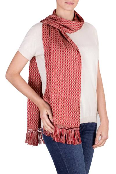 Cotton scarf, 'Striped Crimson' - Hand Woven Crimson Scarf with Fringes from Guatemala