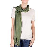 Cotton scarf, 'Olive Valley' - Hand Woven Olive Green Cotton Fringed Scarf from Guatemala