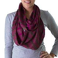 Cotton infinity scarf, 'Rose Camellias' - Artisan Handwoven Backstrap Loom Fuchsia Infinity Scarf