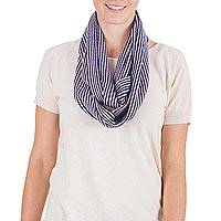 Cotton infinity scarf, 'Maya Melody' - Pink and Dark Blue Handwoven Maya Cotton Infinity Scarf