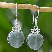Jade dangle earrings, 'Elegant in Jade' - Guatemalan Dangle Hook Earrings in Jade and Silver